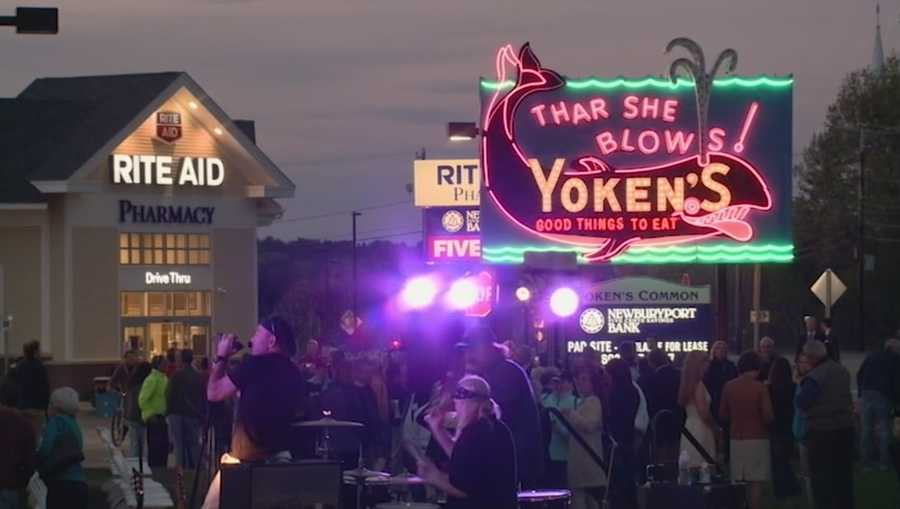 A crowd gathered to see it light up again, and the Yoken's sign is ready to once again welcome visitors along the New Hampshire coast.
