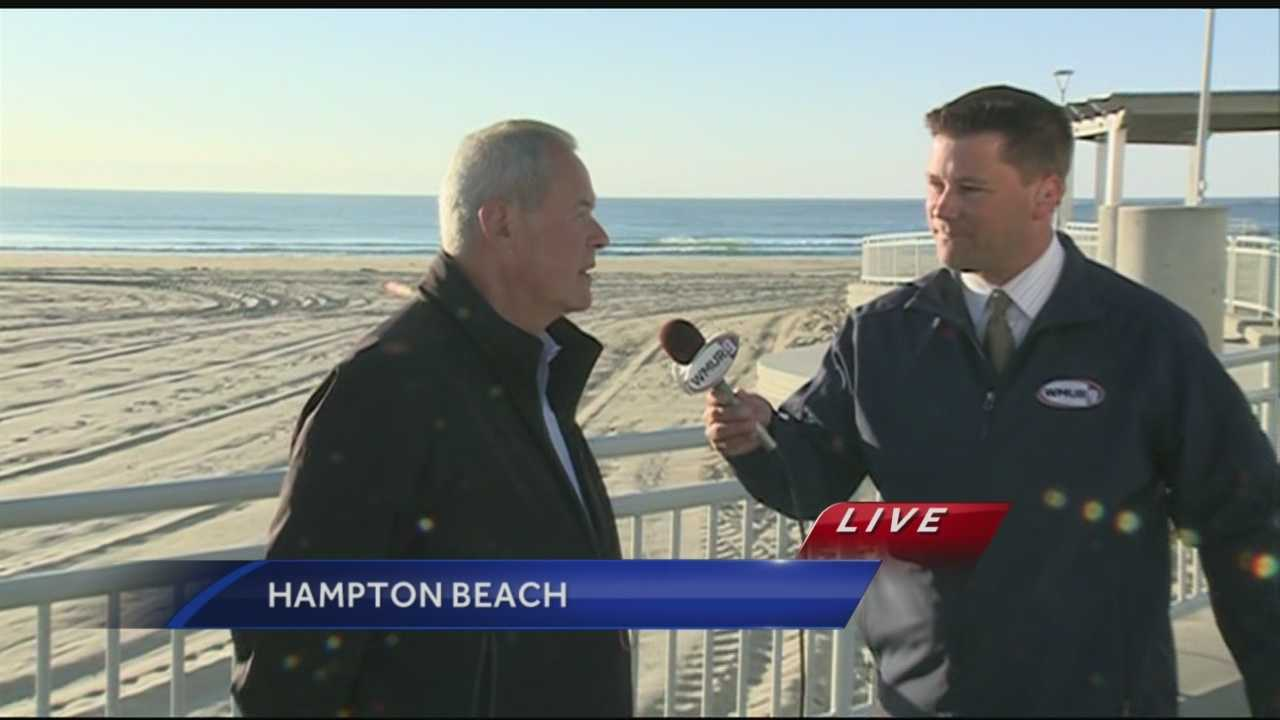 Meteorologist Kevin Skarupa visited Hampton Beach State Park in Hampton on Wednesday morning.