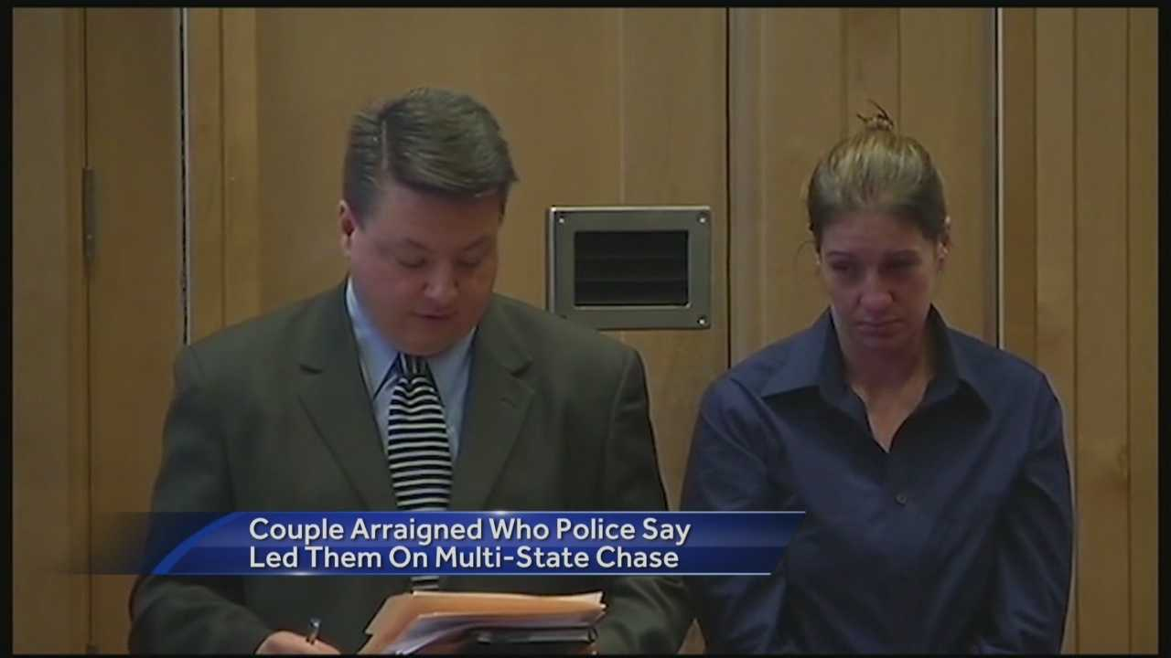A Concord, New Hampshire, woman accused of leading police on a chase through two states faced a judge Thursday.