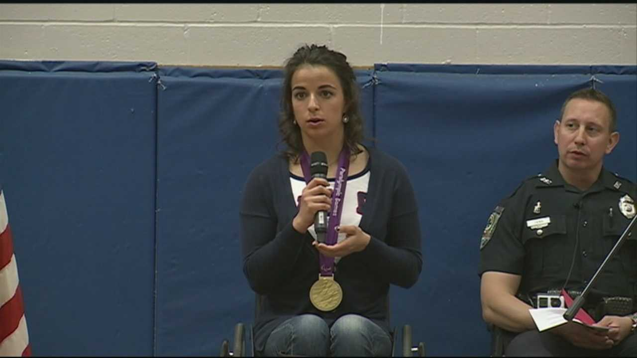 Paralympian Victoria Arlen speaks to Exeter students at DARE ceremony