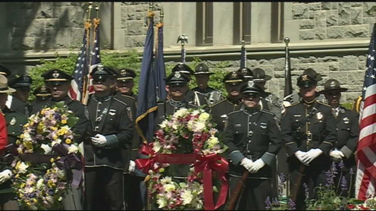 The names of the 47 New Hampshire law enforcement officers who died in the line of duty were read Friday at the Law Enforcement Memorial.