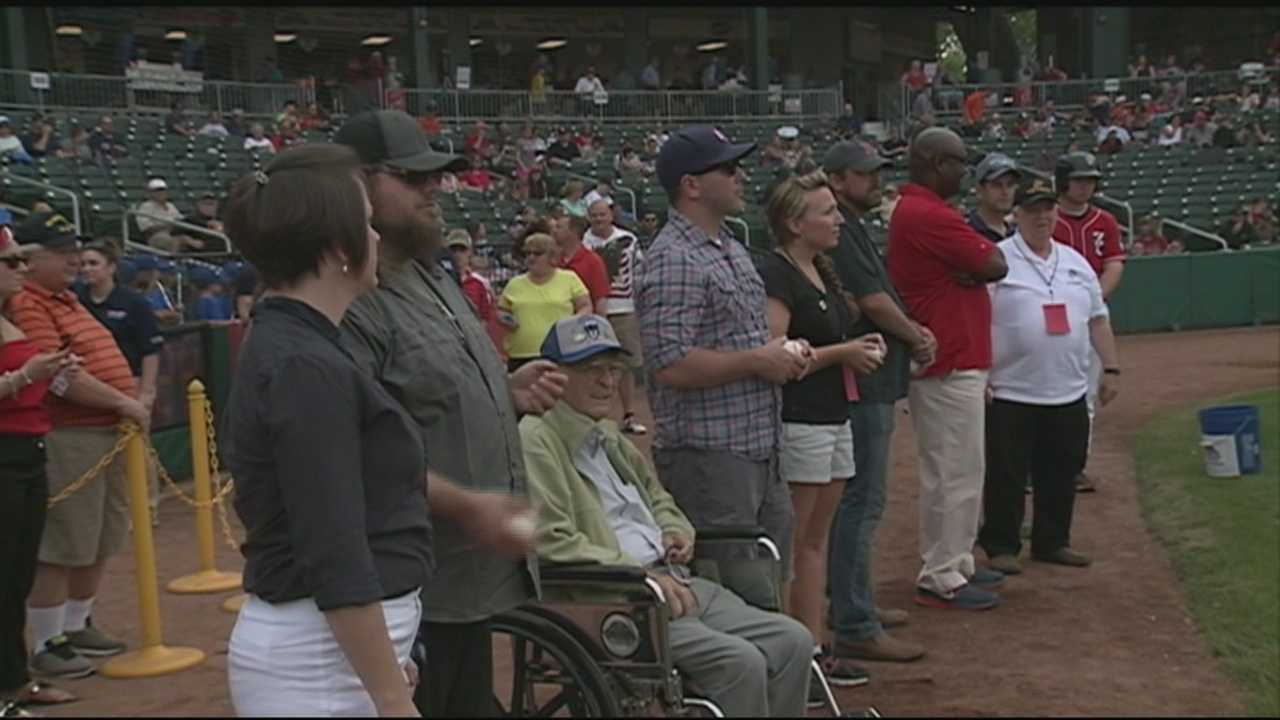 From throwing out the first pitches to getting free tickets and food, veterans were honored at the ball park on Monday. WMUR's Heather Hamel reports.