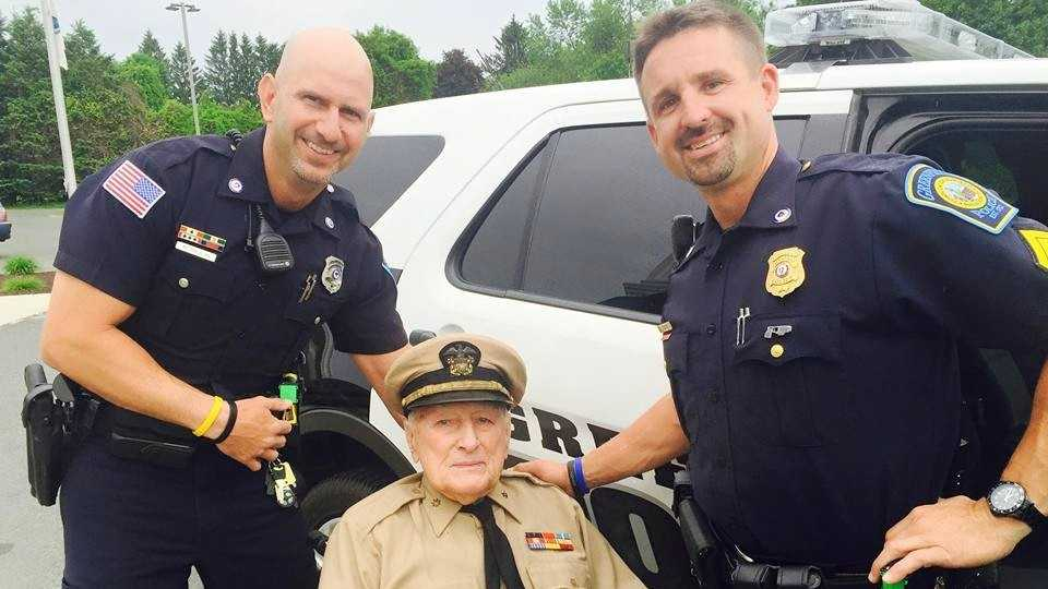 A Massachusetts police department honored a 93-year-old Navy veteran who needed help getting to the Memorial Day parade Monday in a very special way.