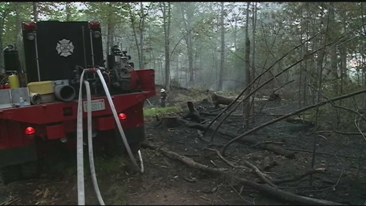 Firefighters tackle another brush fire in Hooksett that  has been burning since noon.