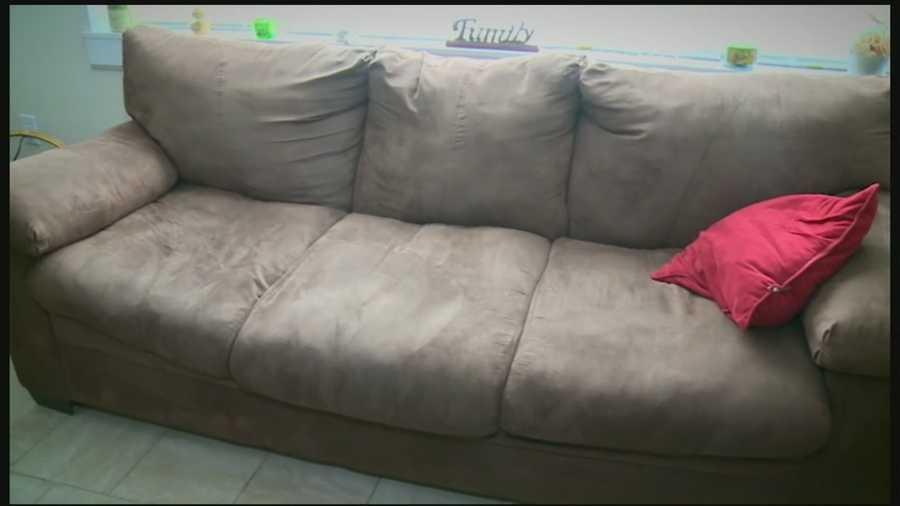 Dion stayed on the couch at the family's home.