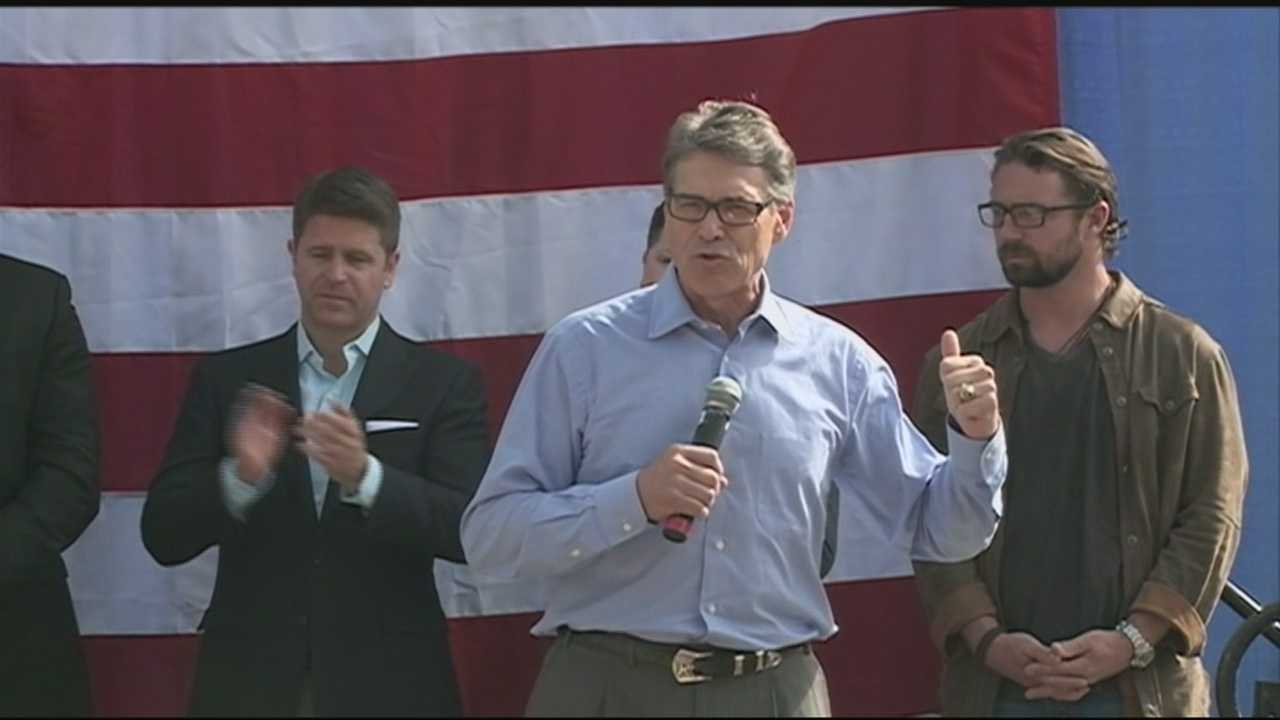 Republican presidential candidate Rick Perry visited the Granite State Sunday with a stop in Meredith before speaking at Nashua Community College.