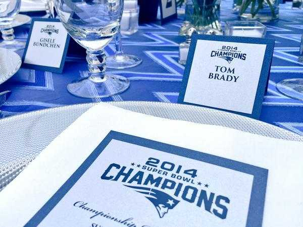 The New England Patriots were given their Super Bowl rings at a party at owner Robert Kraft's house.