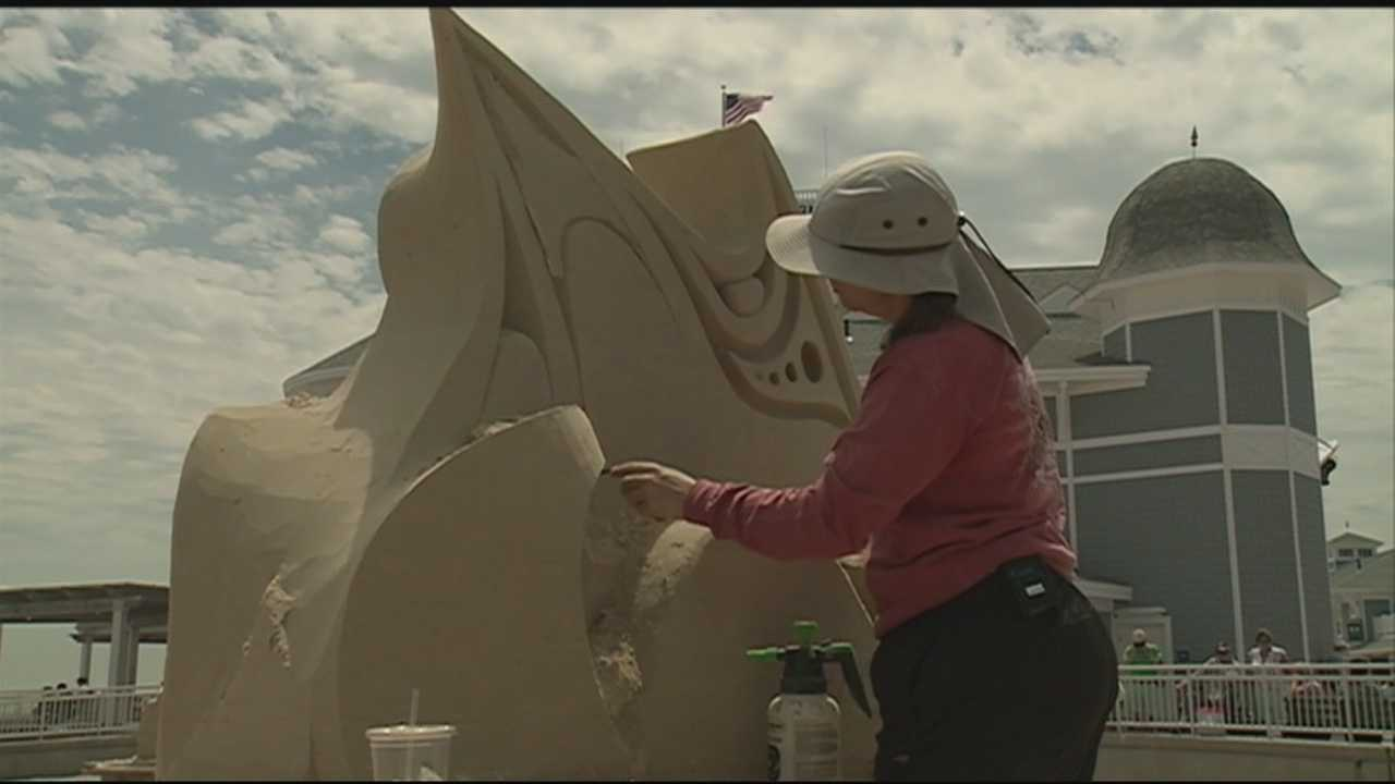Sand sculptors from across North America are at Hampton Beach this weekend to show off their skills.