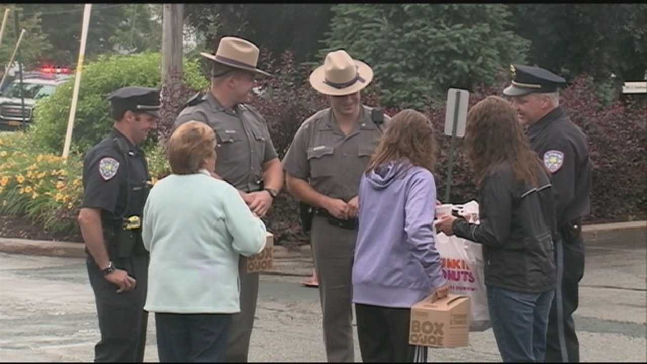 Relieved residents in upstate New York held a celebration outside of Alice Hyde Medical Center in Malone, where David Sweat was taken after he was shot and captured by police.