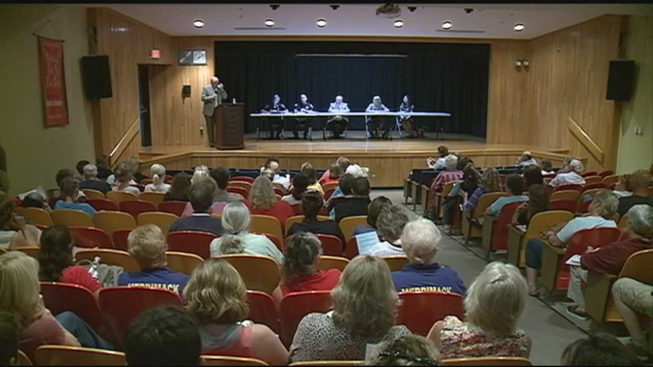 Merrimack police called a community meeting Monday evening to talk about the growing heroin epidemic impacting the Granite State.