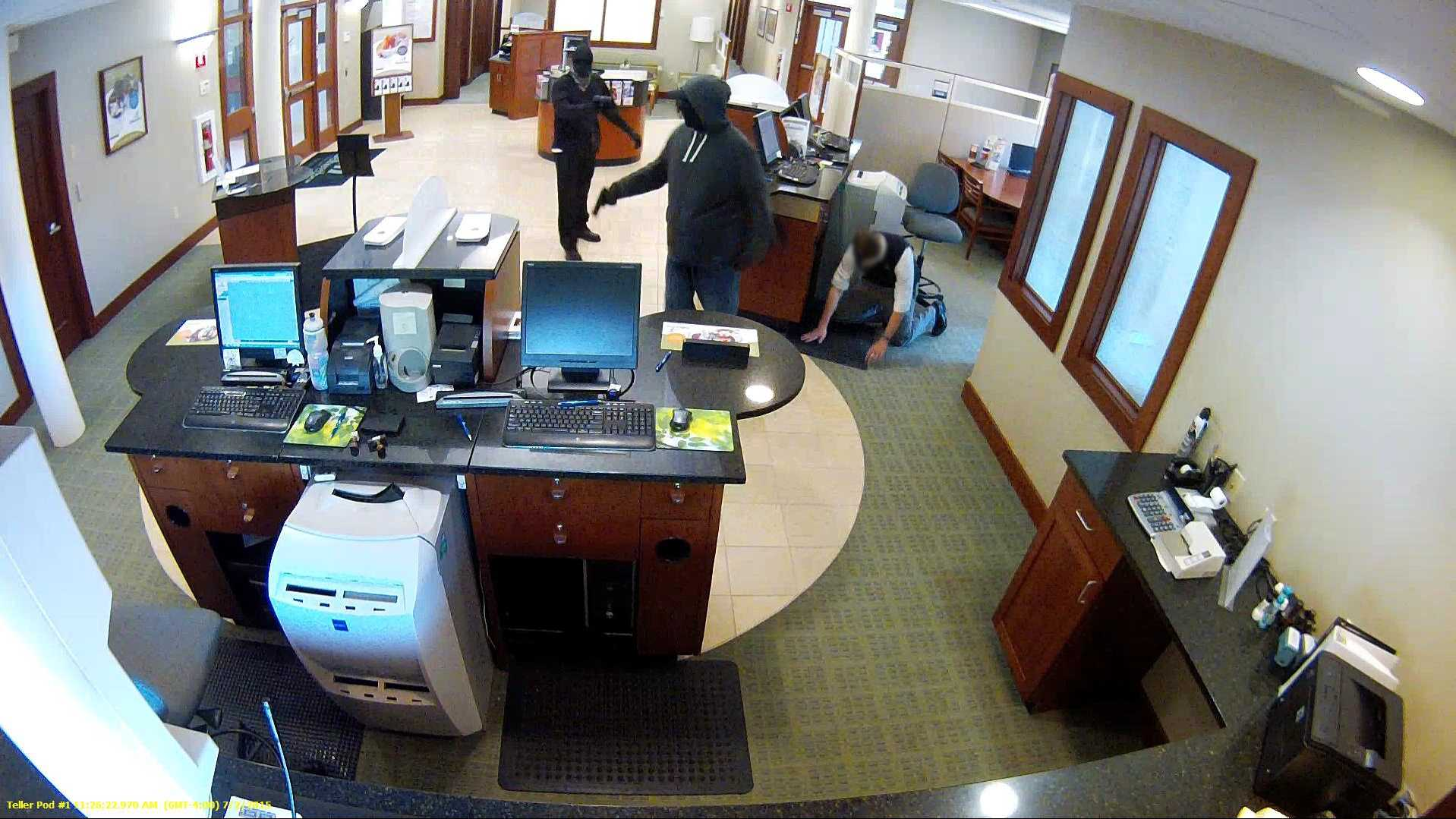 Police said two masked men were armed when they robbed the Bellwether Community Credit Union in Nashua on Friday, July 2.