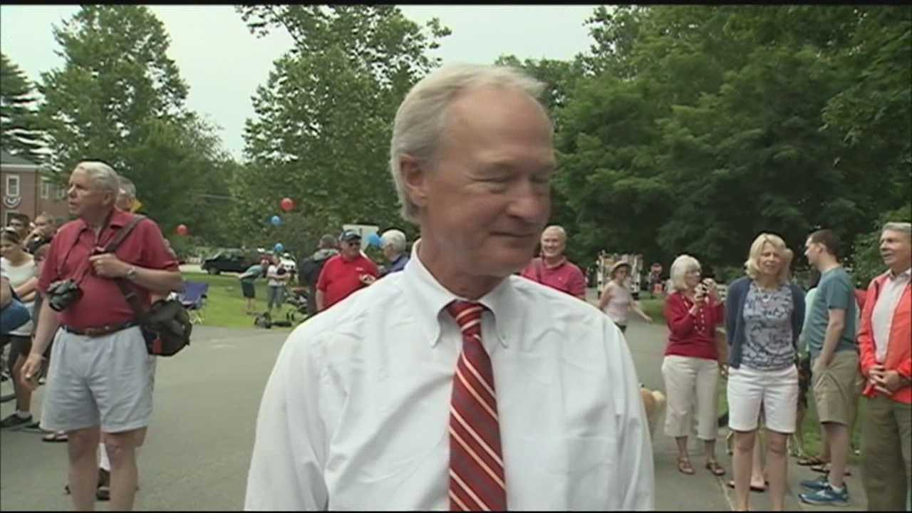Former Rhode Island Governor and former U.S. Senator Lincoln Chafee met voters during Fourth of July parades in Merrimack and Amherst.
