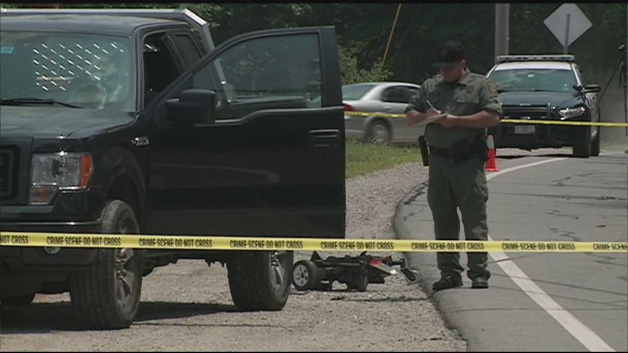 A man in a motorized wheelchair was killed Monday when he was struck by a pickup truck on Route 3A in Hooksett, police said.