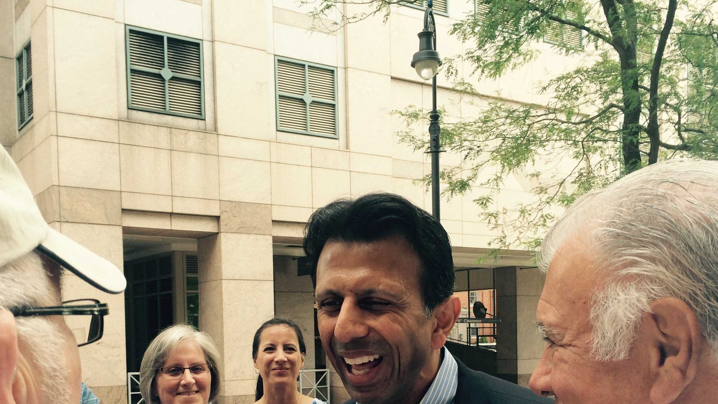 Louisiana Gov. Bobby Jindal speaks to Granite Staters in downtown Manchester with Mayor Ted Gatsas Monday, July 6. (John DiStaso/WMUR)