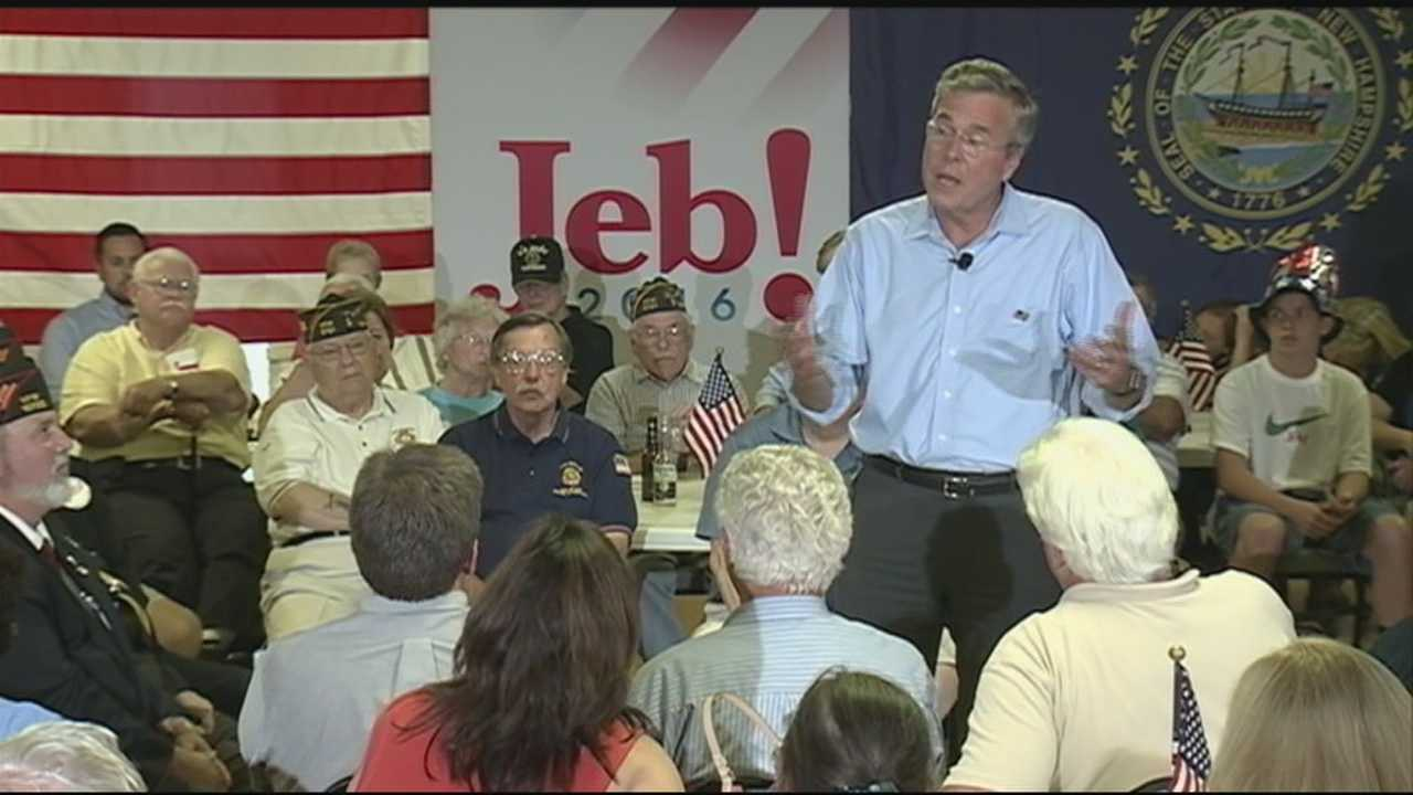 Former Florida Gov. Jeb Bush took questions at a town hall event at the Hudson VFW on Wednesday.
