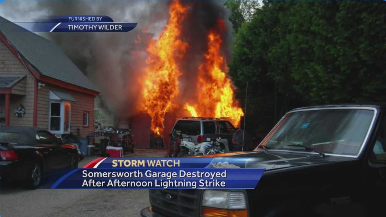 Firefighters said a lightning strike sparked a garage fire in Somersworth on Sunday afternoon.