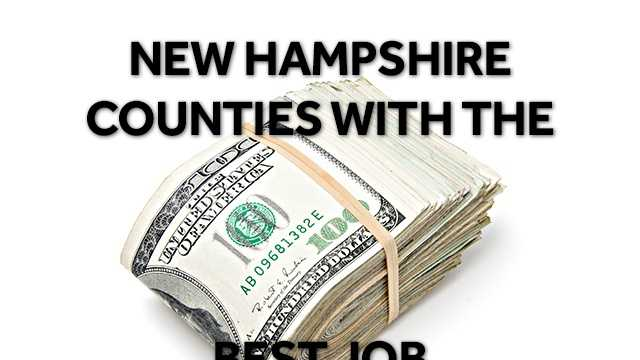 The following list ranks New Hampshire's counties with the best job opportunities, based on factors like employee and business turnover, employment rates and cost of living. For full methodology, visit: https://local.niche.com/rankings/counties/best-job-opportunities/s/new-hampshire/.