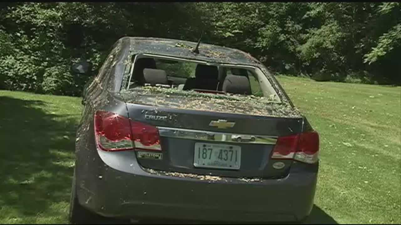 A Bethlehem woman said she's grateful she made it out alive after a tree and power lines fell on the car she was in Sunday with her 3-year-old daughter.