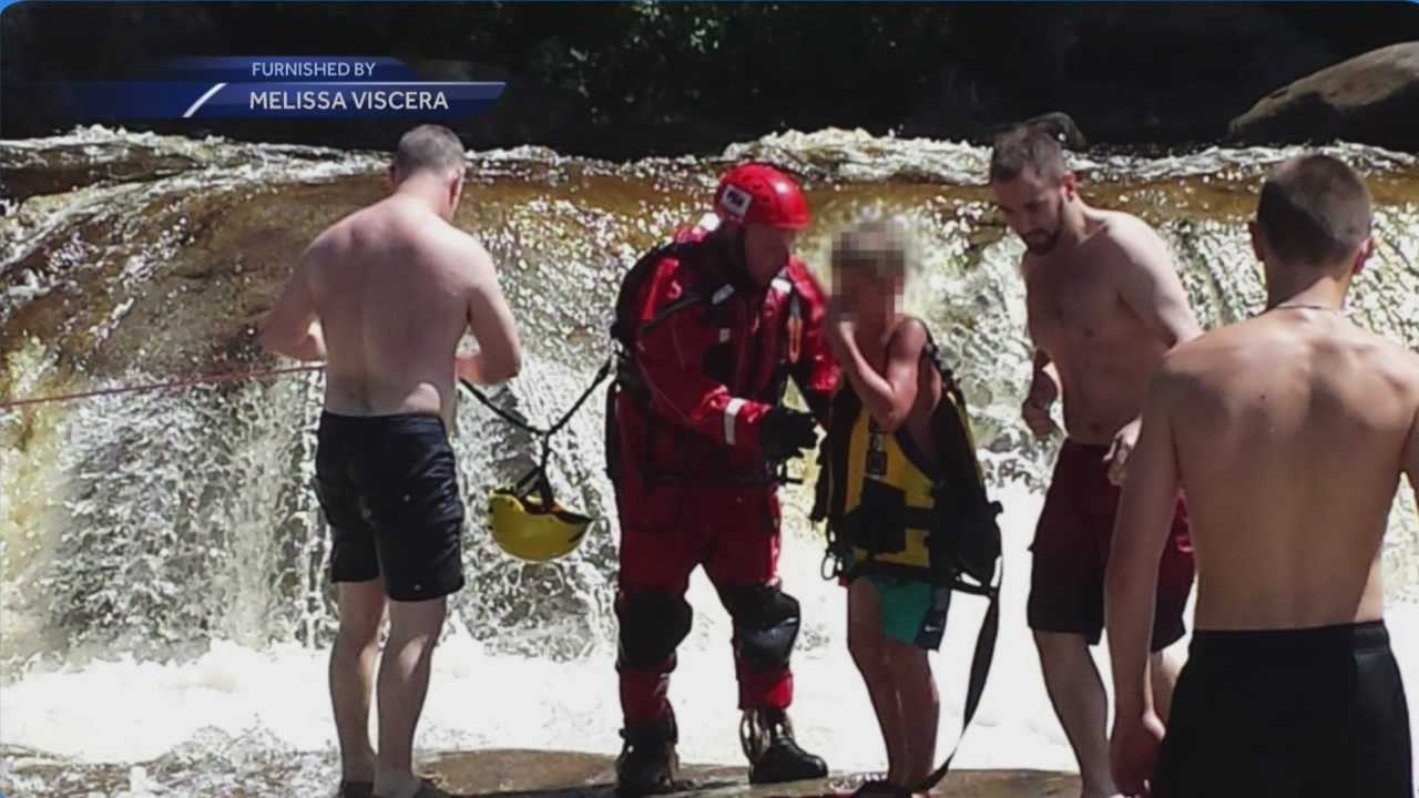 A 14-year-old boy was rescued after being swept downstream Monday at the Lower Falls Recreation Area by Conway Fire and Rescue.