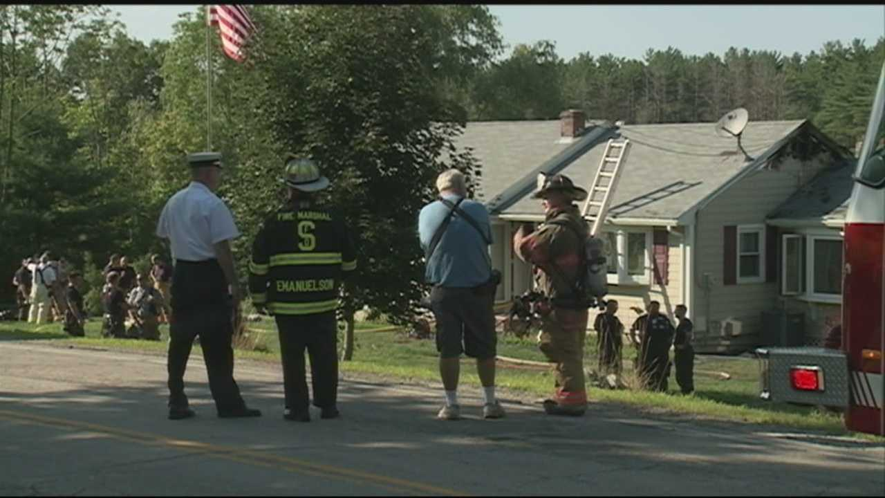 Firefighters from multiple towns battled a fire in Pelham on Old Gage Hill Road on Monday afternoon.