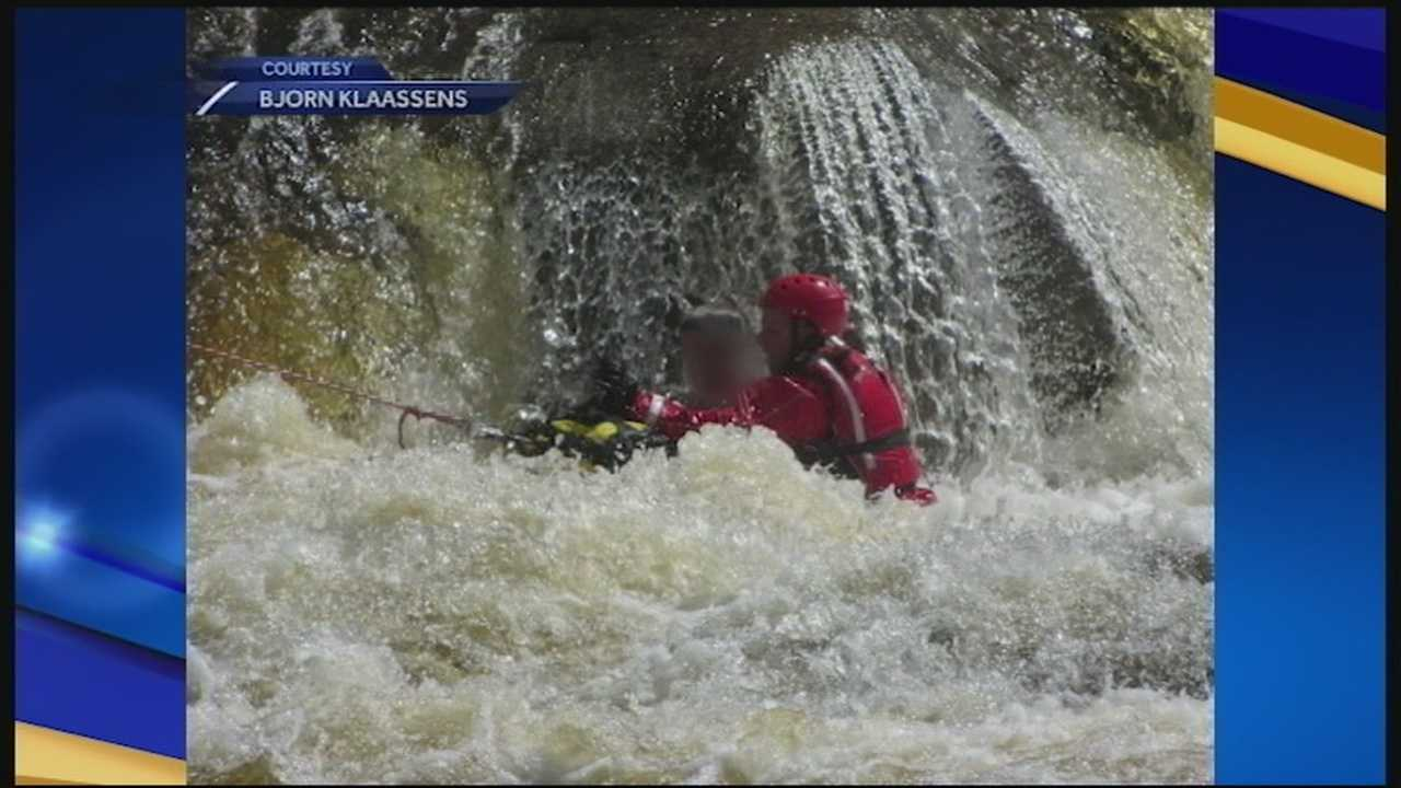 A teenager was rescued Monday in Conway after he was swept down the Swift River and stranded on a rock.