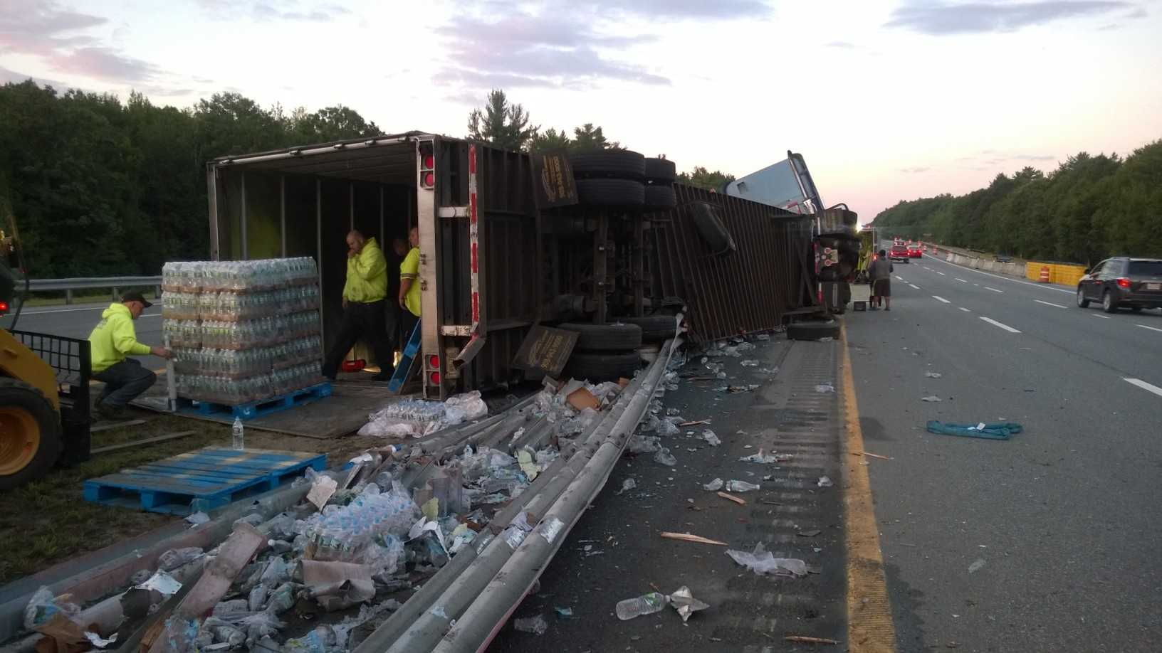 Maine State Police are cleaning up after a tractor trailer loaded with 48,000 pounds of Poland Spring water crashed on Interstate 95 south in York.