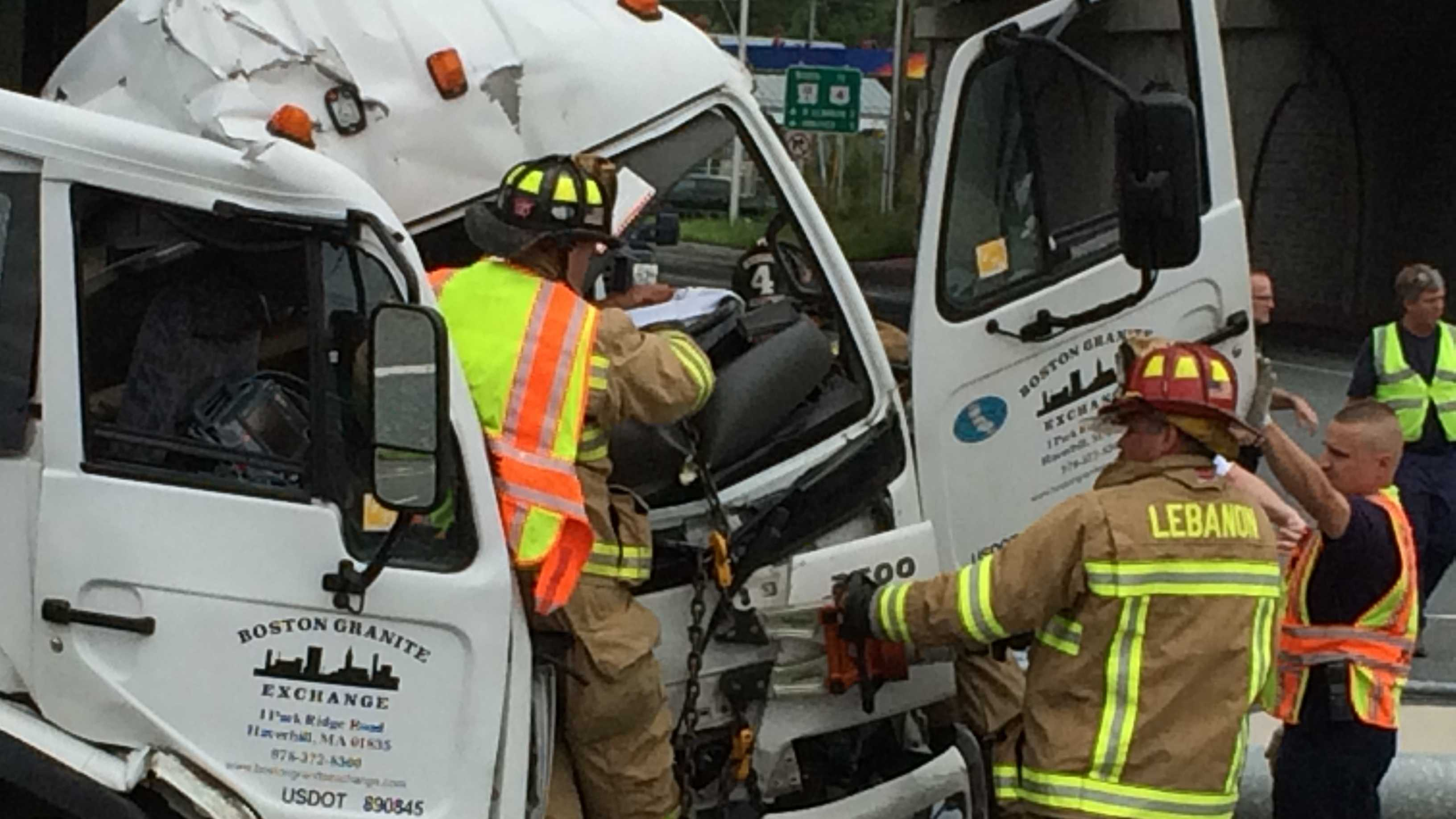 A flatbed delivery truck brought down a traffic signal pole Thursday morning in a crash in West Lebanon.