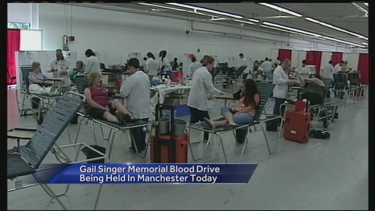 The 32nd annual Gail Singer Memorial Blood Drive got underway in Manchester this morning. This is the largest community blood drive in the country.