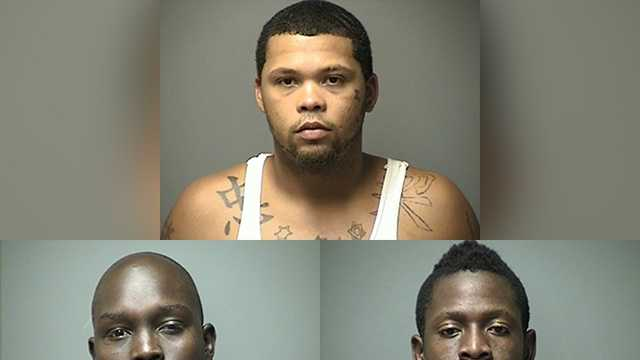 Daniel Pihl (top), Deng Lauly (bottom left) and Dorbor Nyonee (bottom right) were arrested Wednesday in Manchester.