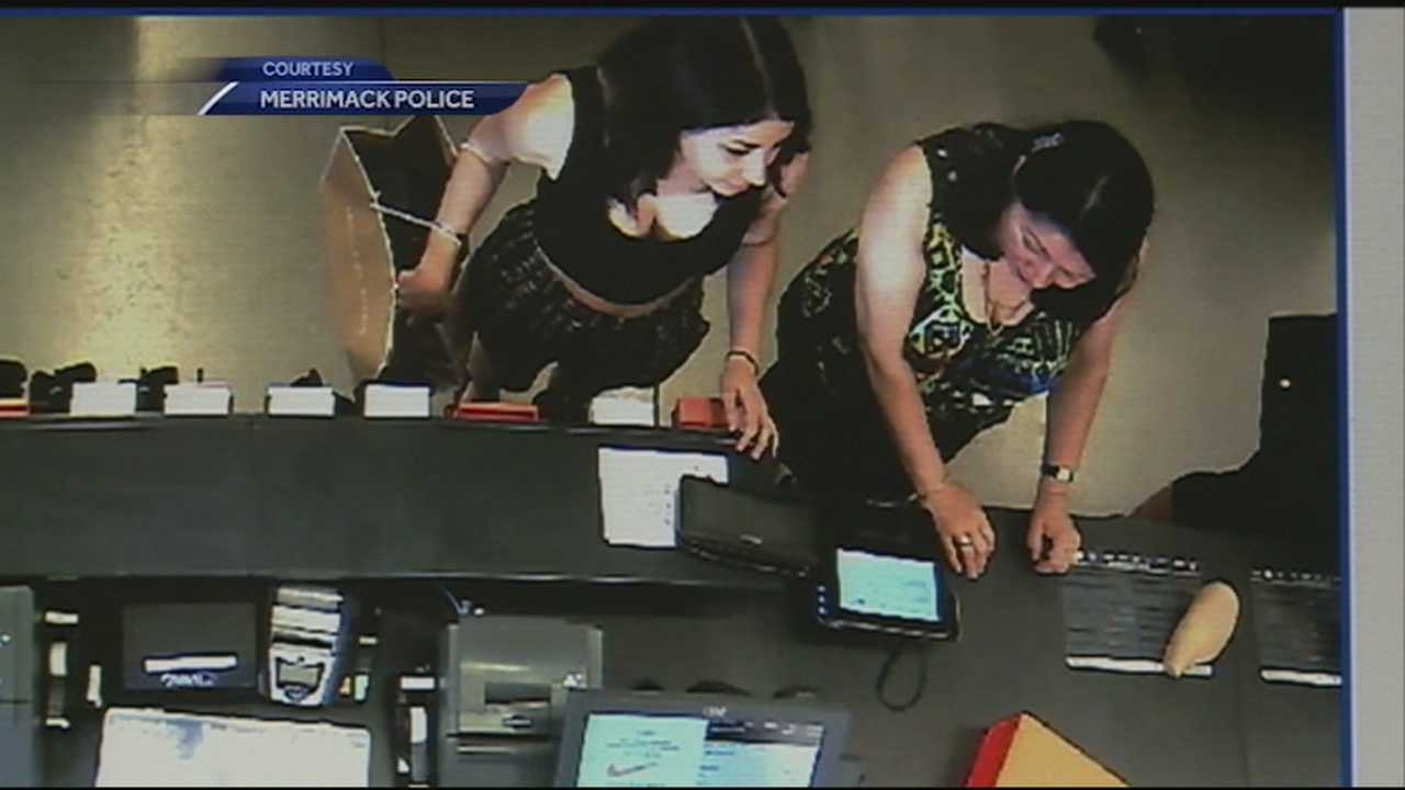 Merrimack police searching for two women caught on surveillance video stealing another woman's wallet that was left on a store counter at the Merrimack Outlets.