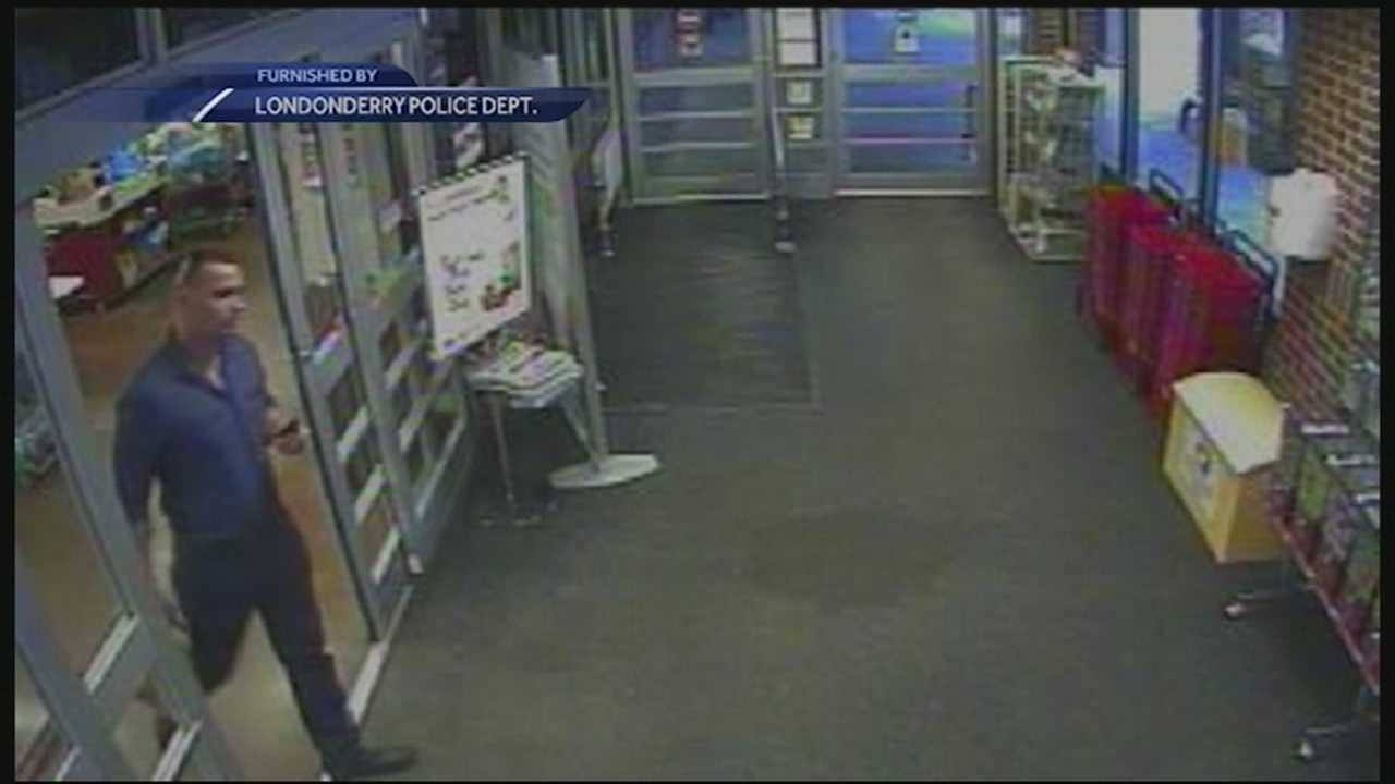 A surveillance camera captured the image of a man leaving a Londonderry supermarket walking out with $5,000 worth of gift cards. WMUR's Jean Mackin reports.