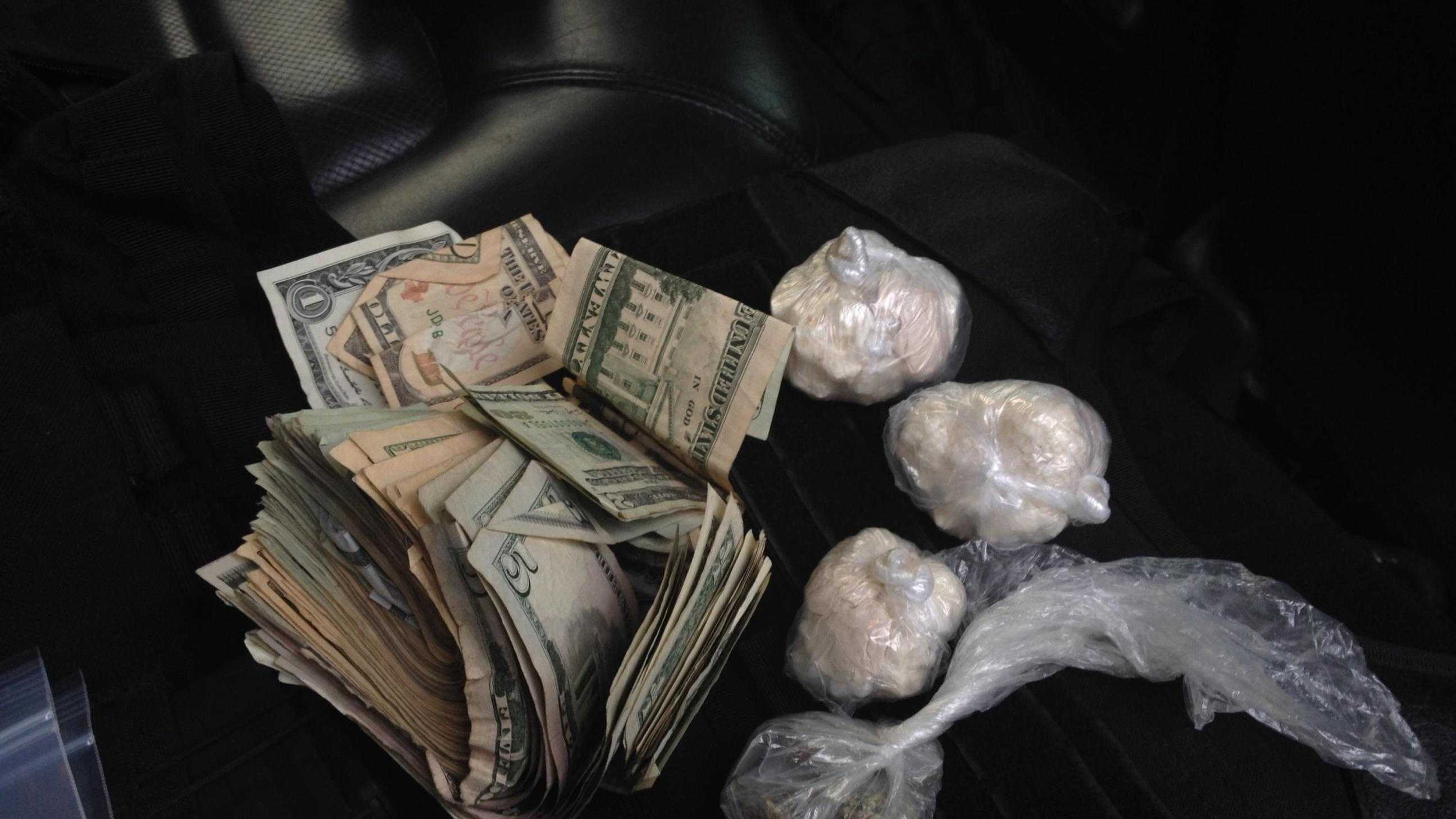 In all, police seized 128 grams of crack cocaine, which has a street value of $18,500, 17.8 grams of heroin, which has a street value of $1,400, 6.5 grams of marijuana, which has a street value of $100, 7 Alprazolam pills, which has a street value of $70, 7 Oxycodone pills, which has a street value of $105, and cash totaling $9,099.