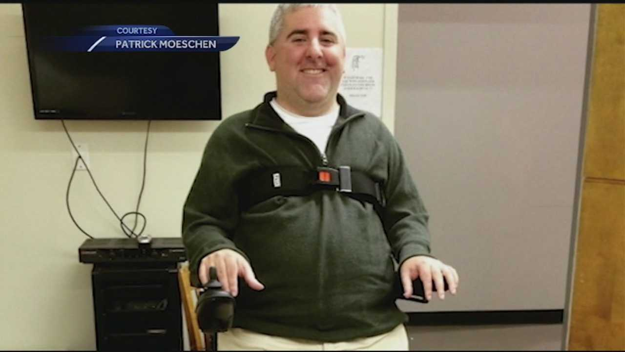 A music teacher from Salem will soon be able to stand up while on the job -- a remarkable feat considering he teaches and conducts from a wheelchair.