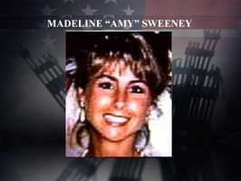 """Madeline """"Amy"""" Sweeney was a flight attendant aboard American Airlines Flight 11. A 1984 graduate of Nashua High School, Sweeney called a ground supervisor by air phone and relayed information about the hijackers before the plane crashed into the World Trade Center. She was survived by her husband and two young children."""