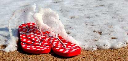 Flip flops that might have been worn strolling along Hampton Beach.