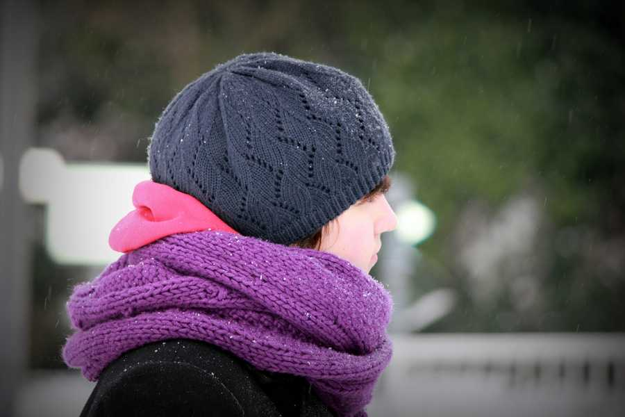 Colorful winter hats and scarves.