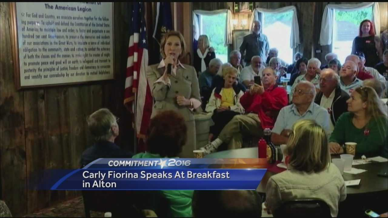 Republican Presidential Candidate Carly Fiorina speaks to voters at breakfast in Alton.
