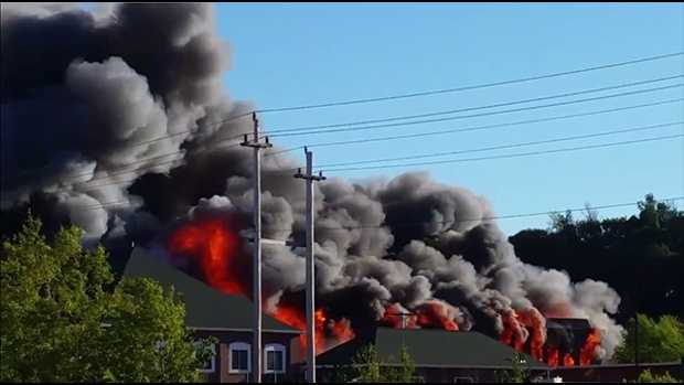 A 7-alarm fire broke out in an abandoned mill in Haverhill, Massachusetts, Sunday.