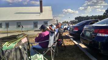 Fans were staked out at Concord Municipal Airport on Thursday to wait for their favorite NASCAR drivers.