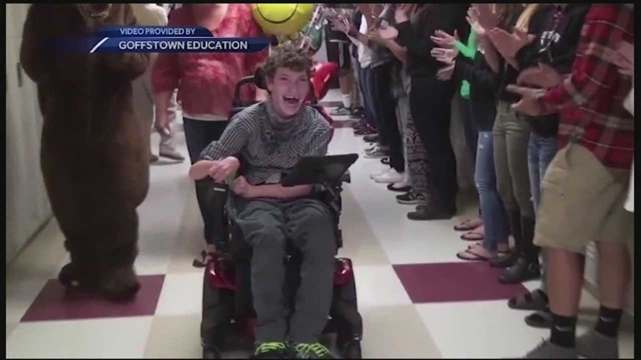 Students, faculty, and staff surprised Kyle Boule on his last day at Goffstown High School