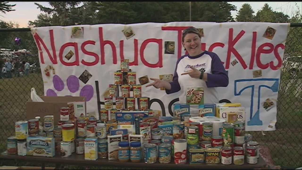High school football teams across the state collect canned food in the third annual New Hampshire Tackles Hunger