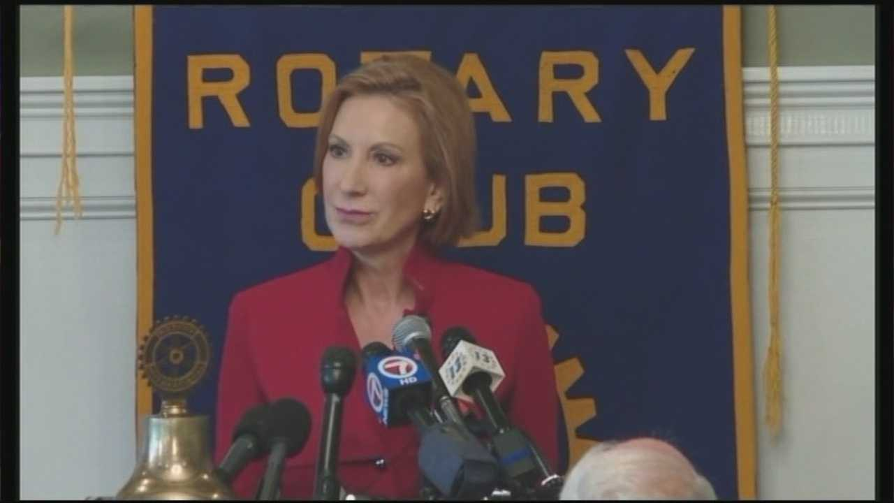 Republican presidential candidate Carly Fiorina spoke Monday to members of the Manchester Rotary.