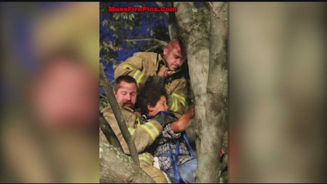 A 9-year-old Manchester boy rescued from a tree shared his story with WMUR.