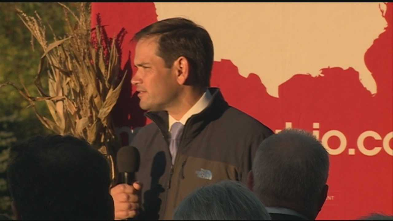 Republican Presidential candidate Marco Rubio spoke at a house party in Bedford Tuesday evening.