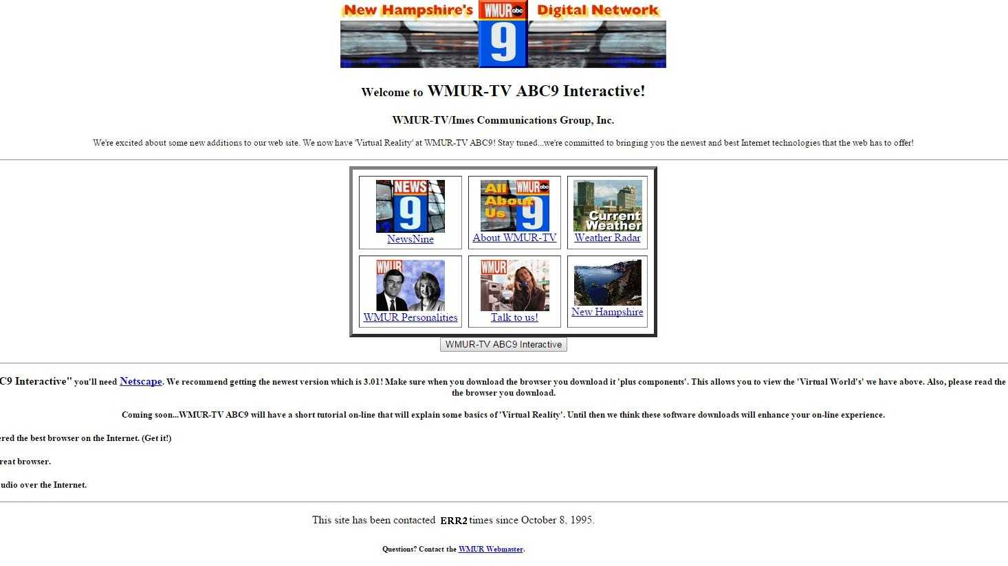 On Thursday Oct. 8, WMUR.com is celebrating its 20th birthday! We thought it would be fun to take a look back at how the site has changed over the years. Here's a shot from 1996.