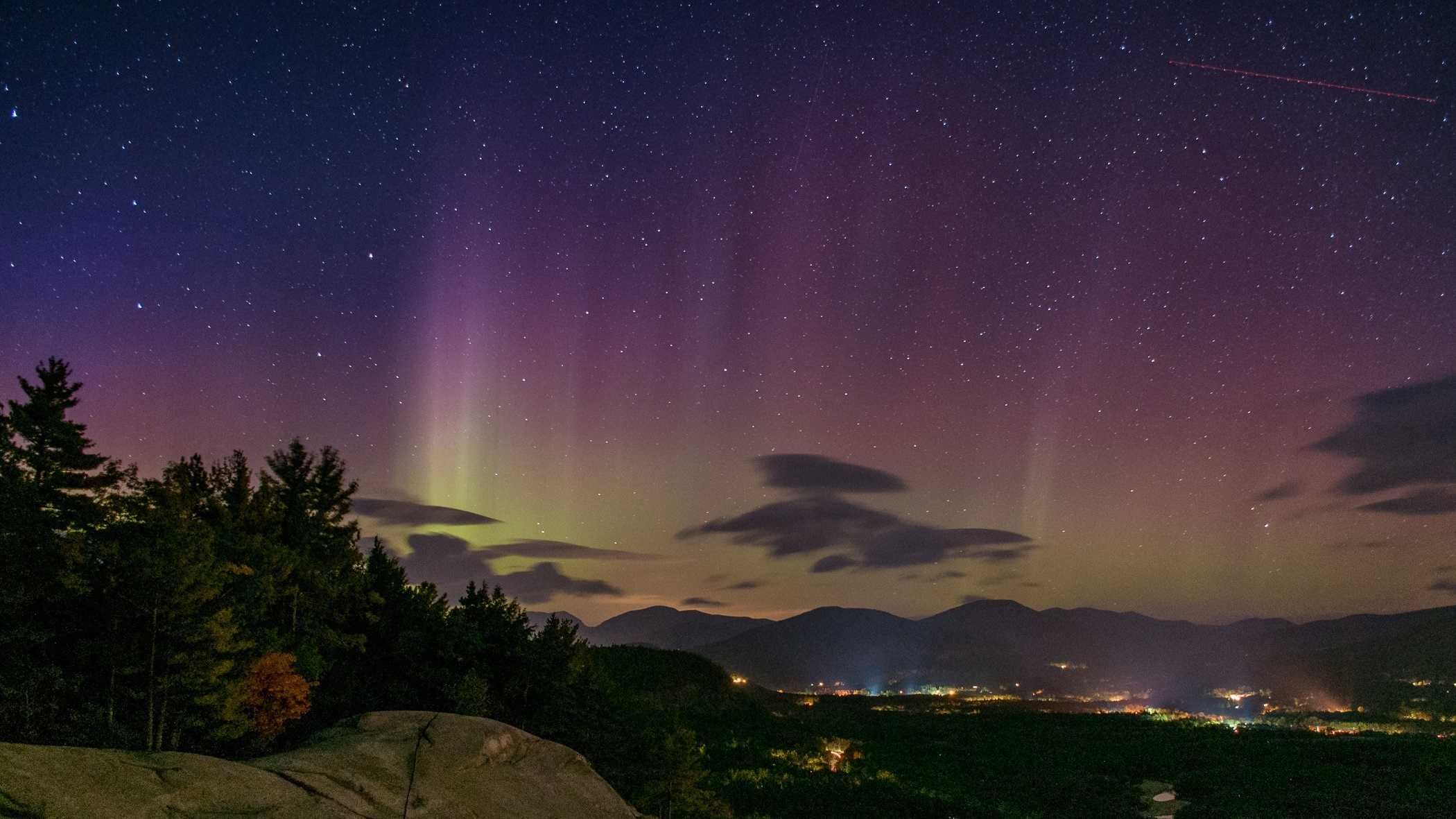 Dan Houde of Wiseguy Creative Photography captured some amazing photos on Oct. 7 of the northern lights over Mt Washington Valley with Cathedral Ledge in the foreground.