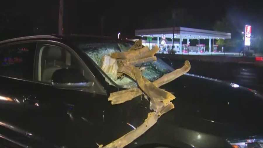 It was a close call for a woman driving to Logan Airport on Route 1 in Saugus early Tuesday.