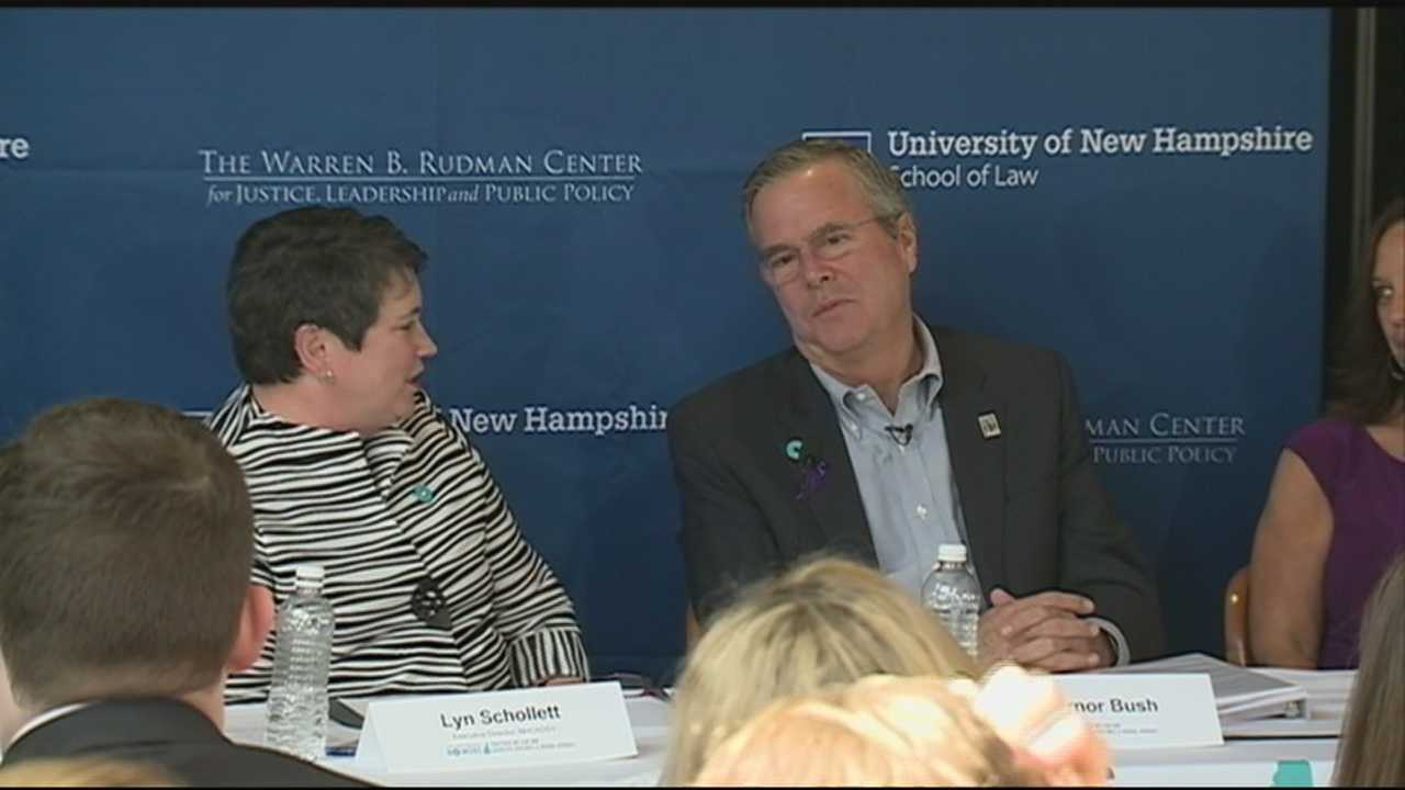 Former Florida Gov. Jeb Bush spoke at a domestic violence prevention roundtable Thursday at the University of New Hampshire School of Law.