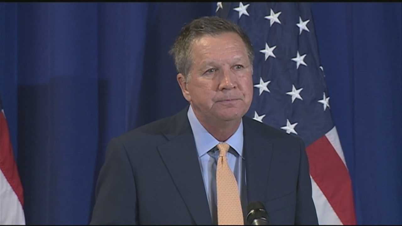Republican presidential candidate John Kasich on Thursday pledged to balance the budget within eight years, cut taxes and pour more money into the military, while holding the line on all other government spending.