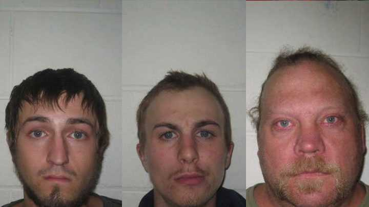 Joseph Sindoni (left), Brandon Coombs (middle) and Douglas Nettleton (right) were arrested Thursday on drug charges.